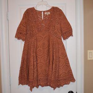 Free People Burnt Orange Lace Dress Size Small